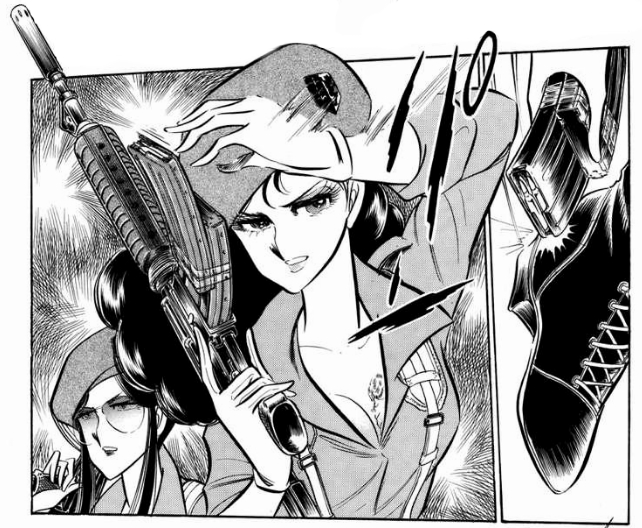 Mariko Rosebank poses with a rifle in a panel from Desert Rose, a manga by Kaoru Shintani.